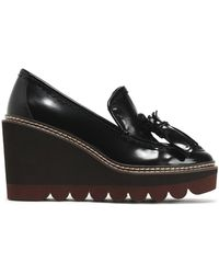 See By Chloé - Zina Fringe-trimmed Patent-leather Wedge Loafers - Lyst