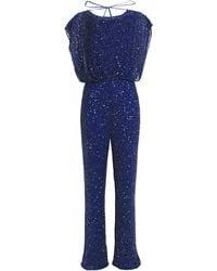 Jenny Packham Embellished Silk-georgette Jumpsuit Indigo - Blue