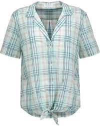 Equipment - Keira Tie-front Checked Cotton-voile Shirt - Lyst