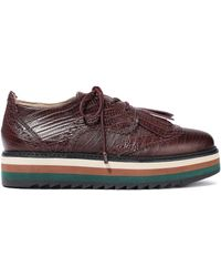 Zimmermann Fringed Lizard-effect Leather Platform Brogues Burgundy - Multicolour