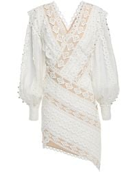Zimmermann Broderie Anglaise Cotton, Gauze And Crepe De Chine Mini Dress Ivory - White