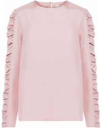 Tibi - Shirred Satin-twill Top - Lyst