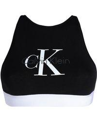 Calvin Klein - Printed Stretch-cotton Sports Bra - Lyst