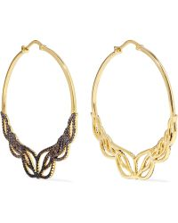 Noir Jewelry - Glowing Hoop Gold-tone Crystal Hoop Earrings - Lyst