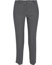 Carven - Cropped Gingham Crepe Slim-leg Trousers - Lyst