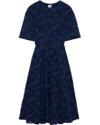 Iris & Ink Cordelia Fil Coupé Silk And Cotton-blend Georgette Dress Navy