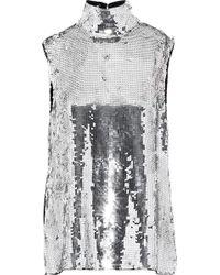 Tibi Metallic Sequined Silk Turtleneck Top Silver