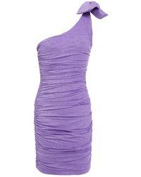 Redemption One-shoulder Ruched Metallic Jersey Mini Dress - Purple