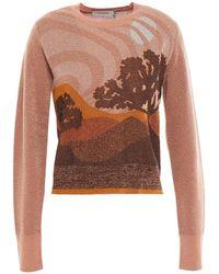 COACH Metallic Jacquard-knit Sweater Antique Rose - Multicolour