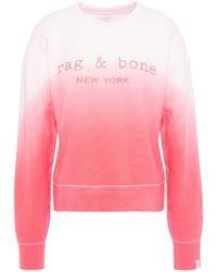 Rag & Bone Printed Dégradé French Cotton-terry Sweatshirt Bubblegum - Pink