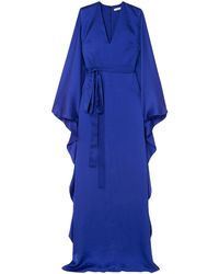 Safiyaa Aurora Hammered Silk-satin Gown - Blue