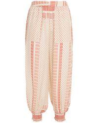 Nicholas Genie Cropped Floral-print Silk Crepe De Chine Harem Trousers - Natural