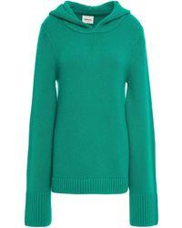 Khaite Elodie Mélange Cashmere Hooded Jumper - Green