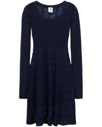M Missoni Crochet-knit Wool-blend Mini Dress - Blue
