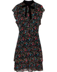 Anna Sui - Velvet-trimmed Ruffled Floral-print Silk-chiffon Mini Dress - Lyst