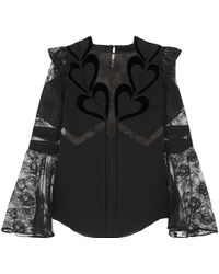 Elie Saab - Embroidered Point D'esprit-paneled Velvet-trimmed Chiffon Blouse - Lyst