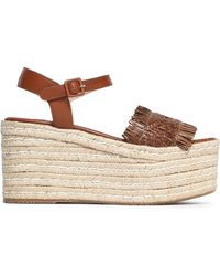 Paloma Barceló - Fringed Woven Leather Platorm Espadrille Sandals - Lyst