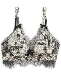 Agent Provocateur - Pearle Leavers Lace-trimmed Printed Stretch Silk-satin Plunge Bra - Lyst