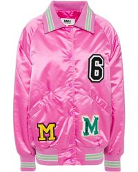 MM6 by Maison Martin Margiela Appliquéd Satin Bomber Jacket - Pink
