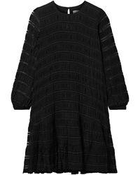 Anine Bing Viola Lattice-trimmed Plissé Stretch-knit Dress - Black