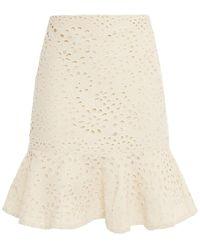 Vanessa Bruno - Natty Fluted Broderie Anglaise Cotton Mini Skirt - Lyst