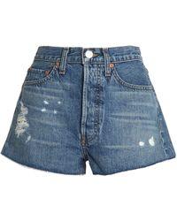 RE/DONE - Woman Distressed Denim Shorts Mid Denim Size 25 - Lyst