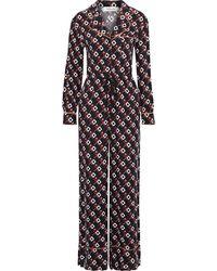 Diane von Furstenberg Cori Printed Cupro-twill Wide-leg Jumpsuit - Black