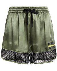 Love Moschino Mesh-paneled Printed Satin Shorts Grey Green