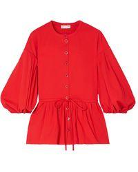 Stine Goya Ferrah Cotton-blend Twill Peplum Blouse - Red