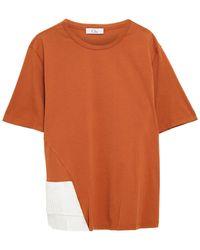 CLU Satin-paneled Cotton-jersey T-shirt - Brown