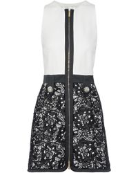 Zuhair Murad - Crystal-embellished Guipure Lace-paneled Silk-blend Mini Dress - Lyst