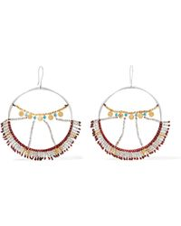 Scosha - Wonderland Silver, Gold-plated And Turquoise Hoop Earrings - Lyst