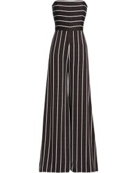 Safiyaa - Strapless Striped Satin-crepe Jumpsuit - Lyst