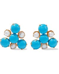 Bounkit 14-karat Gold-plated, Pearl And Earrings - Blue