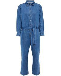 7 For All Mankind 7 For All Kind Belted Denim Jumpsuit Mid Denim - Blue