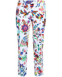 MILLY - Printed Cotton-blend Twill Tapered Pants - Lyst