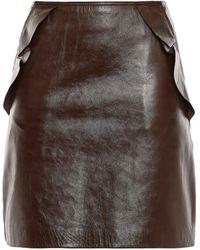 Sandro Elgantier Ruffle-trimmed Leather Mini Skirt Chocolate - Brown
