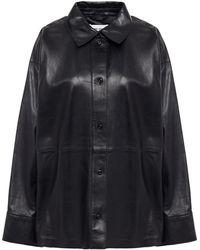 Stand Studio Dee Oversized Leather Shirt - Black
