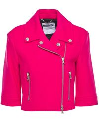 Moschino - Cropped Wool-blend Felt Biker Jacket - Lyst