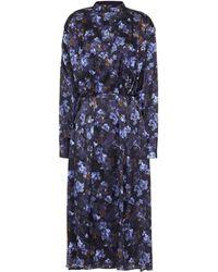 Vince Belted Floral-print Crepe Midi Dress - Blue