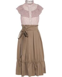 Mikael Aghal Woman Ruffle-trimmed Paneled Printed Cotton-blend Dress Taupe Size 12 Mikael Aghal FCGdpbc2