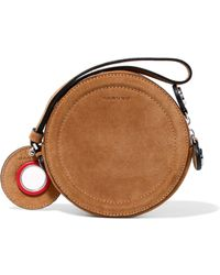 Carven Eyelet-embellished Suede Pouch - Brown
