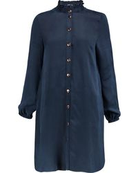Opening Ceremony Sophie Ruffle-trimmed Washed Cupro Mini Shirt Dress - Blue