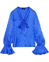 Saloni Lauren Pussy-bow Silk-satin Jacquard Blouse Cobalt Blue