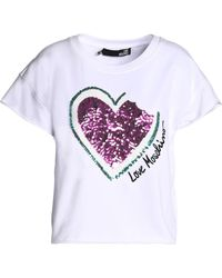 Love Moschino - Sequin-embellished Embroidered Stretch Cotton-jersey T-shirt - Lyst