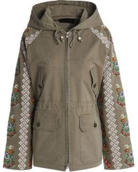 ee42c3611d Needle   Thread - Embroidered Cotton-blend Twill Hooded Jacket Army Green -  Lyst