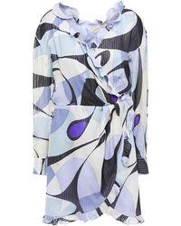 Emilio Pucci - Ruffled Printed Metallic Silk-blend Voile Mini Wrap Dress Sky Blue - Lyst