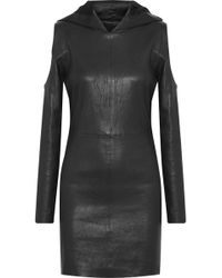 RTA - Grace Cold-shoulder Leather Hooded Mini Dress - Lyst