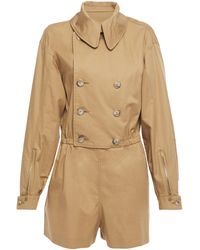 Maison Margiela Double-breasted Cotton-twill Playsuit Camel - Natural