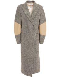 Victoria Beckham Appliquéd Donegal Wool-tweed Coat - Black